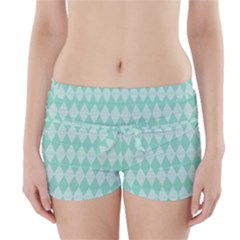 Mint color Diamond shape pattern Boyleg Bikini Wrap Bottoms