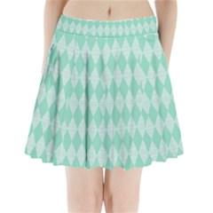 Mint Color Diamond Shape Pattern Pleated Mini Skirt