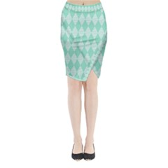 Mint color Diamond shape pattern Midi Wrap Pencil Skirt