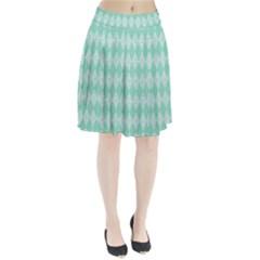 Mint color Diamond shape pattern Pleated Skirt
