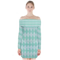 Mint color Diamond shape pattern Long Sleeve Off Shoulder Dress