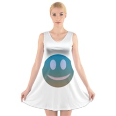 Smiley V Neck Sleeveless Skater Dress