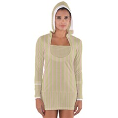 Summer Sand Color Pink Stripes Women s Long Sleeve Hooded T Shirt