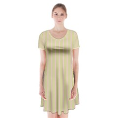 Summer Sand Color Pink Stripes Short Sleeve V Neck Flare Dress