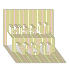 Summer sand color pink and yellow stripes Miss You 3D Greeting Card (7x5)
