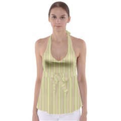 Summer Sand Color Pink And Yellow Stripes Babydoll Tankini Top