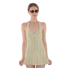 Summer Sand Color Pink And Yellow Stripes Halter Swimsuit Dress