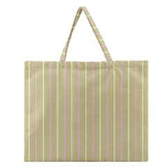 Summer sand color pink and yellow stripes Zipper Large Tote Bag