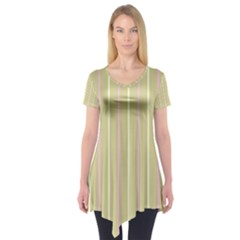 Summer sand color pink and yellow stripes Short Sleeve Tunic