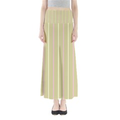 Summer sand color pink and yellow stripes Women s Maxi Skirt