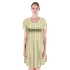 Summer sand color pink and yellow stripes Short Sleeve V-neck Flare Dress