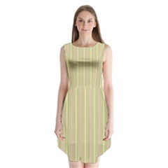 Summer Sand Color Pink And Yellow Stripes Sleeveless Chiffon Dress