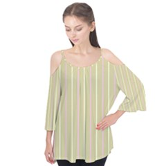 Summer sand color pink and yellow stripes Flutter Sleeve Tee