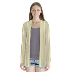 Summer sand color pink and yellow stripes Drape Collar Cardigan