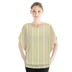 Summer Sand Color Pink And Yellow Stripes Batwing Chiffon Blouse