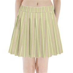 Summer Sand Color Pink And Yellow Stripes Pleated Mini Skirt