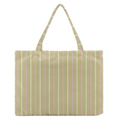 Summer sand color pink and yellow stripes Medium Zipper Tote Bag