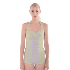 Summer Sand Color Lilac Stripes Boyleg Halter Swimsuit