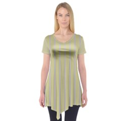 Summer Sand Color Lilac Stripes Short Sleeve Tunic