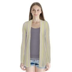 Summer sand color lilac stripes Drape Collar Cardigan