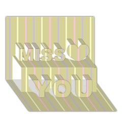 Summer Sand Color Lilac Pink Yellow Stripes Pattern Miss You 3d Greeting Card (7x5)