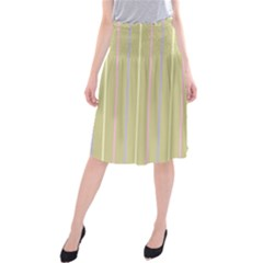 Summer Sand Color Lilac Pink Yellow Stripes Pattern Midi Beach Skirt