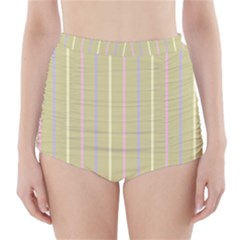 Summer Sand Color Lilac Pink Yellow Stripes Pattern High Waisted Bikini Bottoms