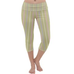 Summer sand color lilac pink yellow stripes pattern Capri Yoga Leggings