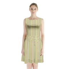 Summer Sand Color Lilac Pink Yellow Stripes Pattern Sleeveless Chiffon Waist Tie Dress