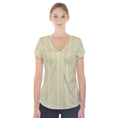 Summer Sand Color Lilac Pink Yellow Stripes Pattern Short Sleeve Front Detail Top