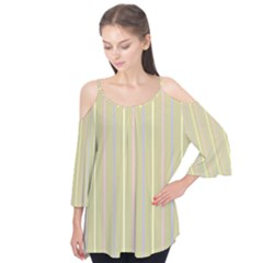 Summer Sand Color Lilac Pink Yellow Stripes Pattern Flutter Tees