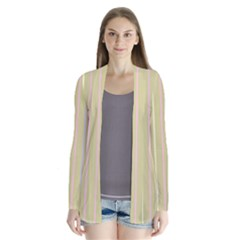 Summer Sand Color Lilac Pink Yellow Stripes Pattern Drape Collar Cardigan