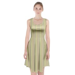 Summer sand color lilac pink yellow stripes pattern Racerback Midi Dress