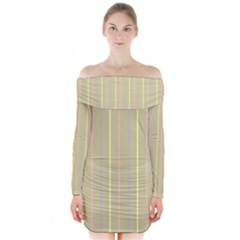 Summer sand color lilac pink yellow stripes pattern Long Sleeve Off Shoulder Dress