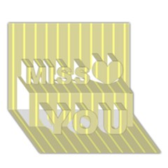 Summer Sand Color Yellow Stripes Pattern Miss You 3d Greeting Card (7x5)
