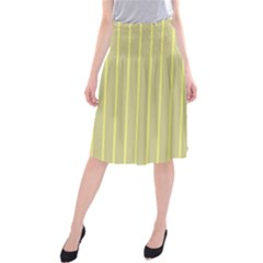 Summer sand color yellow stripes pattern Midi Beach Skirt