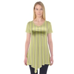 Summer Sand Color Yellow Stripes Pattern Short Sleeve Tunic
