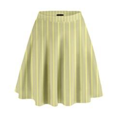 Summer Sand Color Yellow Stripes Pattern High Waist Skirt