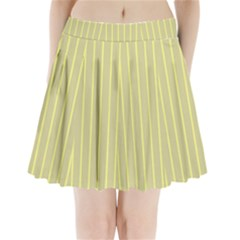 Summer sand color yellow stripes pattern Pleated Mini Skirt