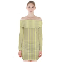 Summer Sand Color Yellow Stripes Pattern Long Sleeve Off Shoulder Dress