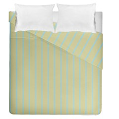Summer Sand Color Blue Stripes Pattern Duvet Cover Double Side (queen Size)