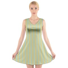 Summer Sand Color Blue Stripes Pattern V Neck Sleeveless Skater Dress