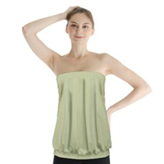 Summer Sand Color Blue Stripes Pattern Strapless Top