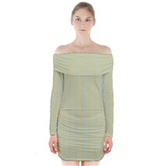 Summer sand color blue stripes pattern Long Sleeve Off Shoulder Dress