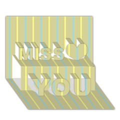 Summer sand color blue and yellow stripes pattern Miss You 3D Greeting Card (7x5)