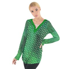 Green Abstract Forest Women s Tie Up Tee