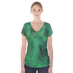 Green Abstract Forest Short Sleeve Front Detail Top