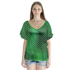 Green Abstract Forest V Neck Flutter Sleeve Top