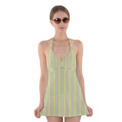 Summer sand color blue and yellow stripes pattern Halter Swimsuit Dress