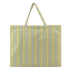 Summer Sand Color Blue And Yellow Stripes Pattern Zipper Large Tote Bag